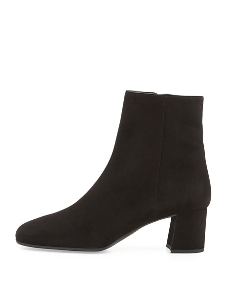 Suede Ankle Boot, Nero
