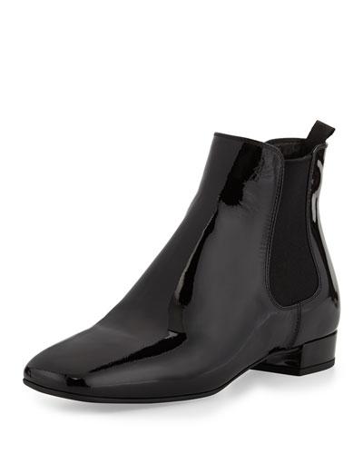 Prada Patent Leather Chelsea Boot, Nero