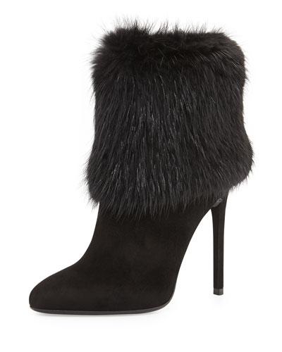 Prada Fur Trimmed Ankle Boot, Black (Nero)