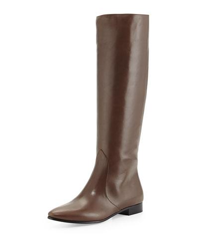 Prada Flat Almond-Toe Knee Boot, Grafite