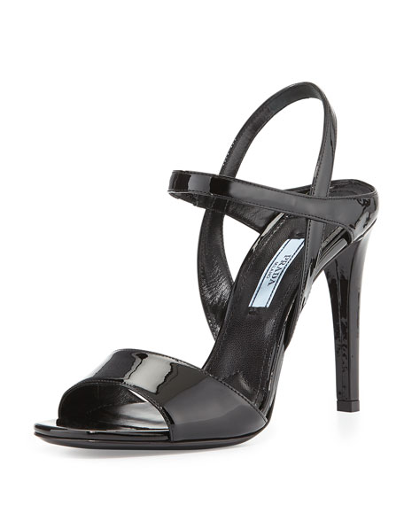 Prada Patent Ankle-Strap Sandal, Nero