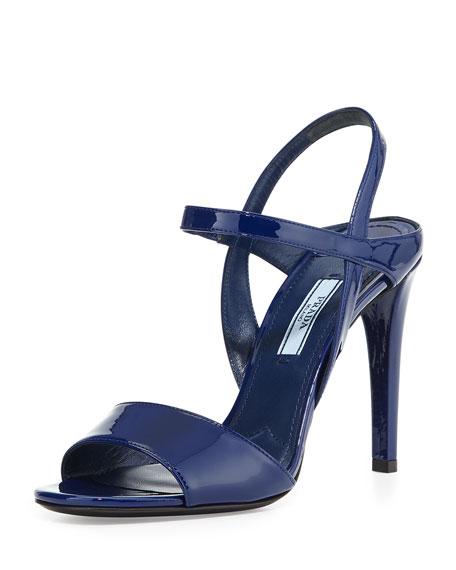 Patent Ankle-Strap Sandal, Navy