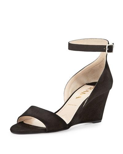 Prada Suede Demi-Wedge Sandal, Nero