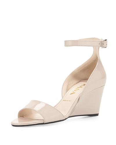Prada Patent Demi-Wedge Sandal, Cipria