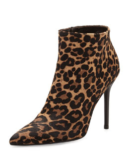 Stuart Weitzman Hitimes Leopard-Print Calf Hair Ankle Boot, Chocolate