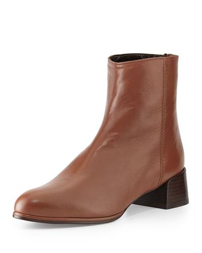 Stuart Weitzman Modesto Leather Ankle Boot, Luggage