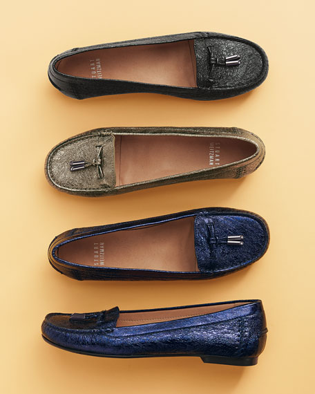 Moxie Foil Moccasin Loafer, Nero