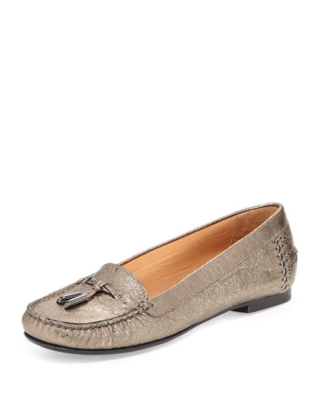 Moxie Foil Moccasin Loafer, Pewter