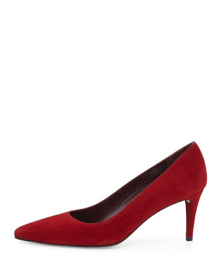 Pinot Suede Pointed-Toe Pump, Radish
