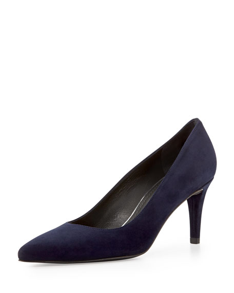 Pinot Suede Pointed-Toe Pump, Nice Blue
