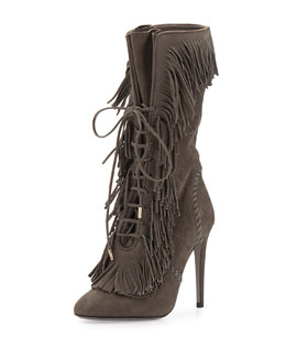 Aquazzura Carly Suede Fringe Mid-Calf Boot, Smoke