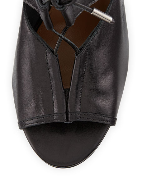 Lace Me Up Leather Bootie, Black