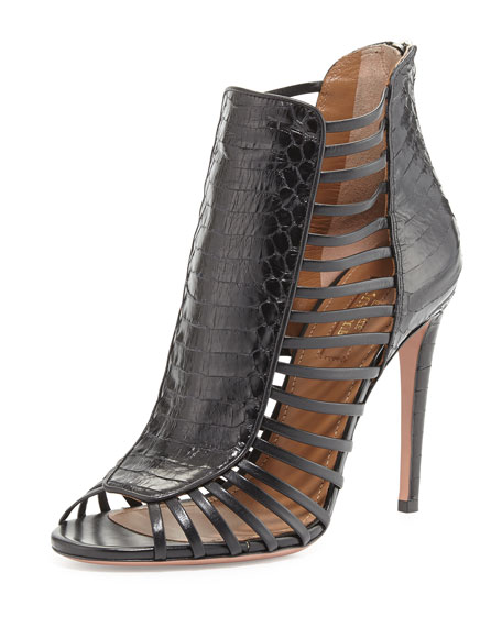Follow Me Snakeskin Cage Bootie, Black