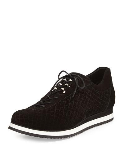Stuart Weitzman Relay Suede Sneaker, Nero Black