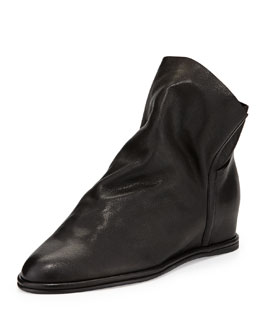Stuart Weitzman Sprite Slouchy Leather Wedge Bootie