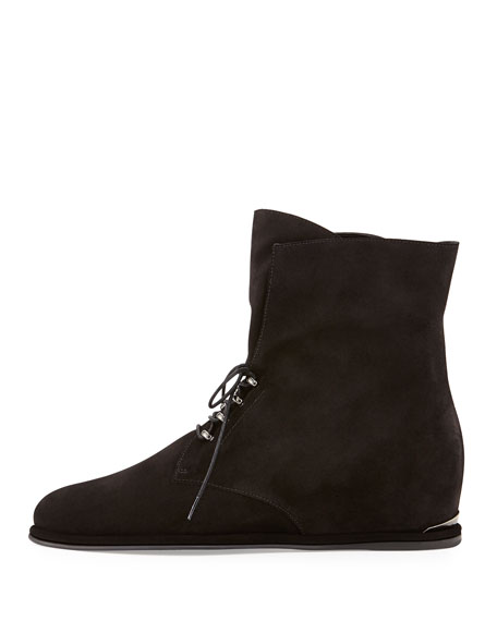 Stepacross Lace-Up Suede Wedge Ankle Boot, Nero