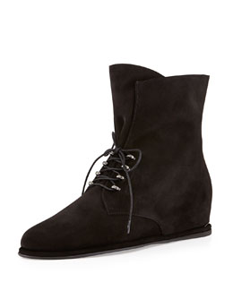 Stuart Weitzman Stepacross Lace-Up Suede Wedge Ankle Boot, Nero