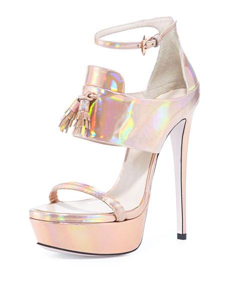 Holographic Platform Tassel Sandal, Rose Gold