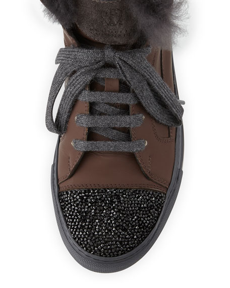 Fur-Lined Leather High Top Sneaker