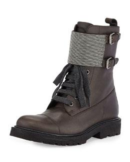 Brunello Cucinelli Lace-Up Monili Combat Boot, Graphite