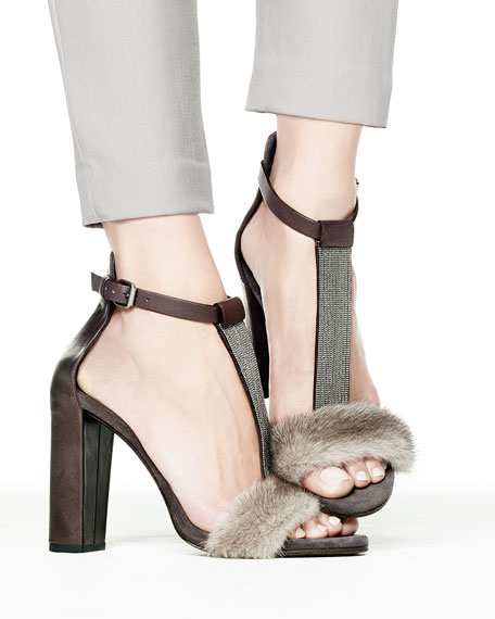 outlet visit outlet footlocker pictures Brunello Cucinelli Shearling Ankle Strap Sandals W0Hvz