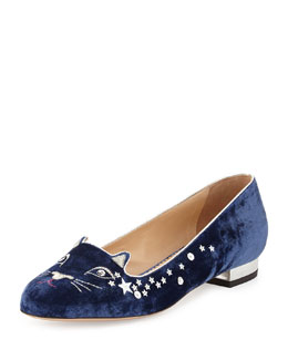 Charlotte Olympia Party Kitty Sequin Velvet Slipper, Navy