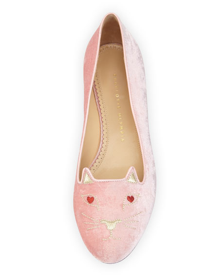 Lovestruck Kitty Velvet Slipper, Pink