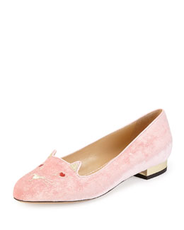 Charlotte Olympia Lovestruck Kitty Velvet Slipper, Pink