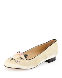 Charlotte Olympia Pretty Kitty Velvet Slipper, White