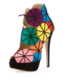 Charlotte Olympia Parasol Satin Platform Sandal, Multicolor
