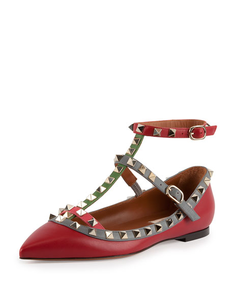 Multicolor Rockstud Caged Ballerina Flat, Red