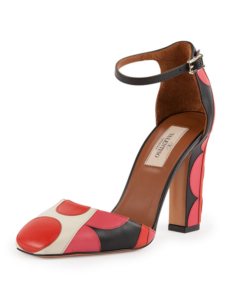 Valentino Polka-Dot Ankle-Strap d'Orsay Pump, Lithe Ivory/Orange
