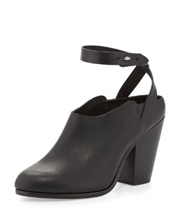 Rag & Bone Kenny Leather Ankle-Strap Slide, Black