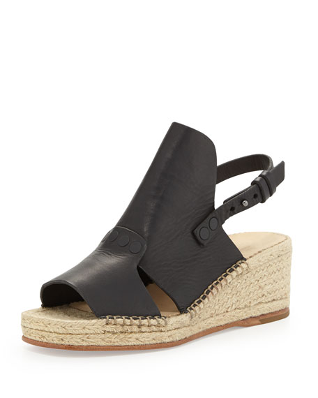 Sayre II Leather Espadrille Wedge, Black