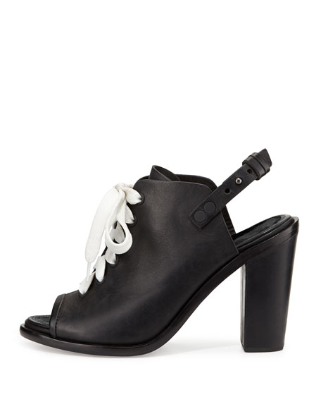 Trafford Lace-Up Peep-Toe Bootie, Black
