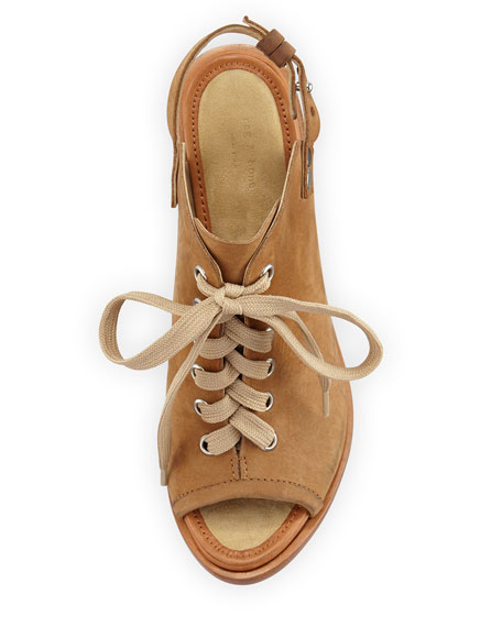Trafford Nubuck Lace-Up Peep-Toe Bootie, Camel