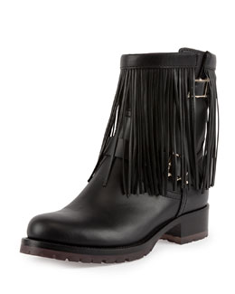 Valentino Fringe Leather Biker Boot, Black