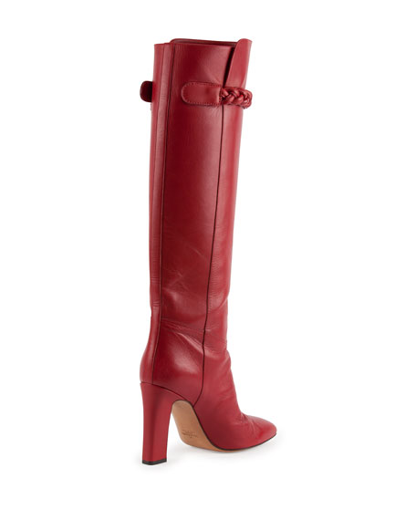 Braided Leather Knee Boot, Rosso