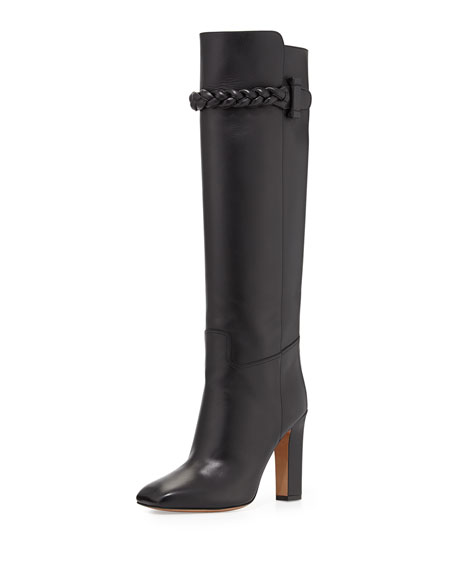 Calfskin Braided Strap Knee Boot, Black