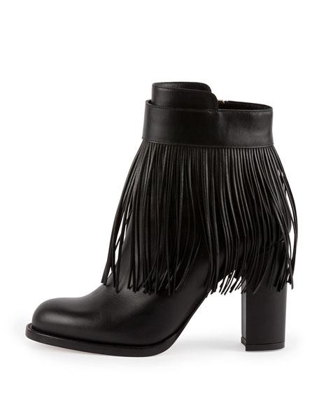 Fringe Leather Ankle Boot, Nero
