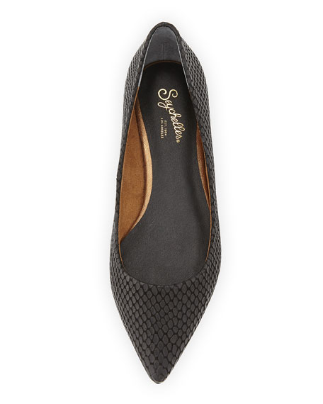 Well Known Embossed Pointed Flat, Black