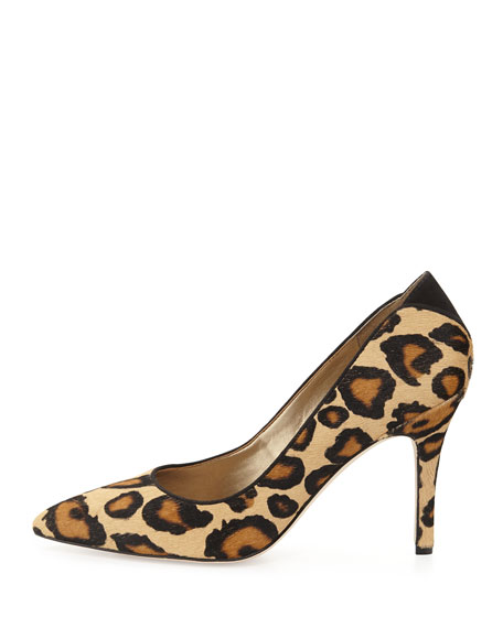 Zola Leopard-Print Calf Hair Pointy-Toe Pump