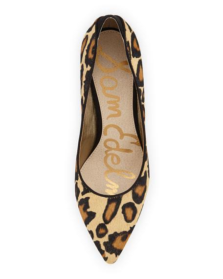 Zola Leopard-Print Calf Hair Pointy-Toe Pump