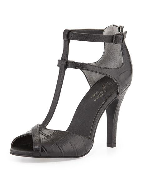 Hideaway Embossed T-Strap Sandal, Black