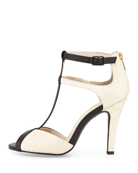 Hideaway Embossed T-Strap Sandal, Off White