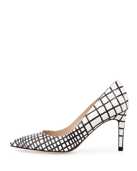 Floret Pointy-Toe Lattice Pump, Black/White