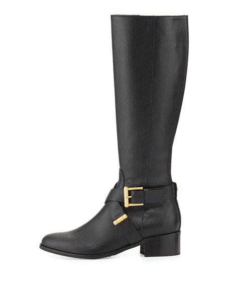 Linsey Grained Calfskin Knee Boot, Black