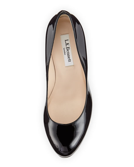Sledge Patent Round-Toe Platform Pump, Black
