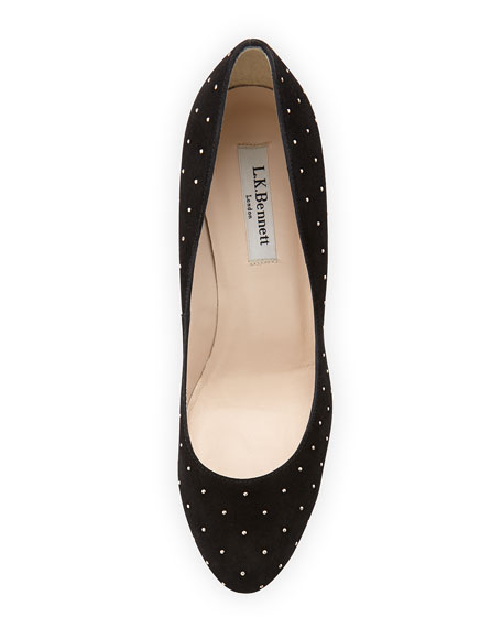 Stila Suede Round-Toe Pump, Black