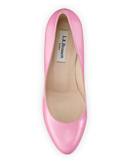 Stila Saffiano Round-Toe Pump, Candy (Pink)